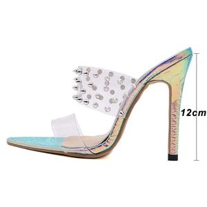 Image 4 - Pzilae 2020 נשים נעלי משאבות אופנה PVC שקוף נעלי שקופיות פתוח הבוהן מחודדת סקסי מסמרת רב צבע עקבים flip צונח