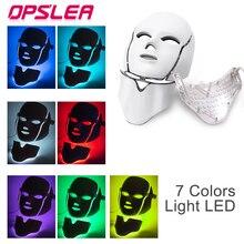 Светодиодная терапевтическая маска с горлышком светлая маска для лица фотонная терапия светодиодная маска для лица Корейская омоложение кожи уход за кожей светодиодная маска терапия
