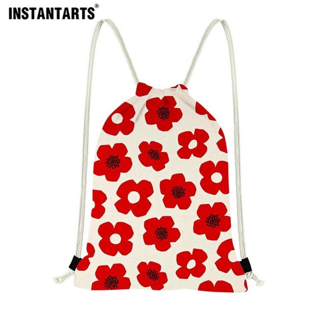 INSTANTARTS Colorful Poppy Flower Pattern Drawstring Bags Drawstring Backpack Women Men Small Beach String Shoulder Bag Satchel