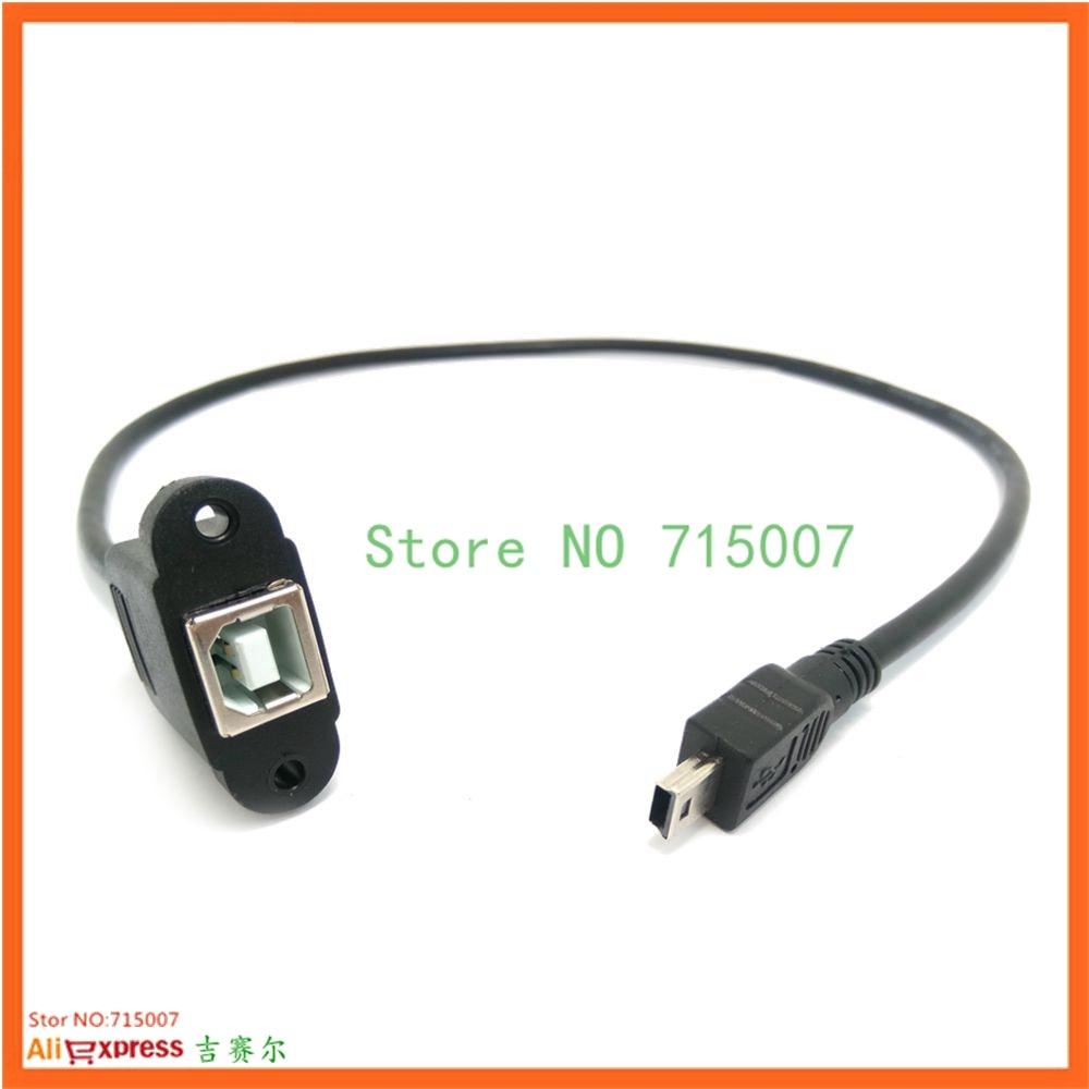 0.3 m 0.5 m mini usb para usb 2.0 tipo b cabo de extensão cabo fêmea com montagem em painel parafuso buraco bloqueio conector adaptador