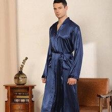 Sleepwear Nightwear Pajama Robe Satin Silk Men's Home Casual Peignoir Peignoir