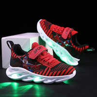 Kids Led Shoes Printed Cartoon Children Sneakers Soft Lighted Luminous Glowing Boys Shoes Baby Toddler Girls Antiskid Sneakers