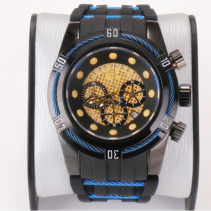 Reserve Unbeaten Luxury Brand Large Dial 52mm Luminous Chronograph Complete Calendar Men's Silicone Multifunction Quartz Watch