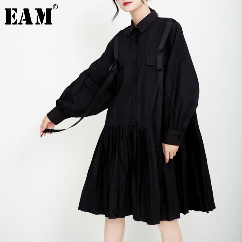 [EAM] Women Black Pleated Ribbon Stitch Shirt Dress New Lapel Long Sleeve Loose Fit Fashion Tide Spring Autumn 2020 1D197