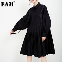 [EAM] Women Black Pleated Ribbon Stitch Shirt Dress New Lapel Long Sleeve Loose Fit Fashion Tide Spring Autumn 2019 1D197