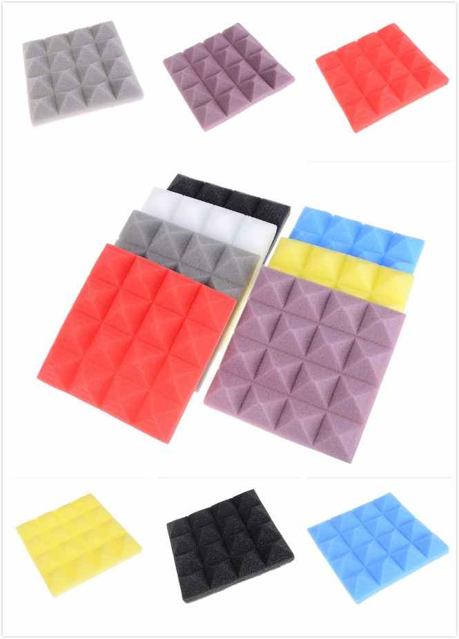 1pc colorido isolamento acústico espuma de espuma som tratamento estúdio sala absorção telhas espuma de poliuretano