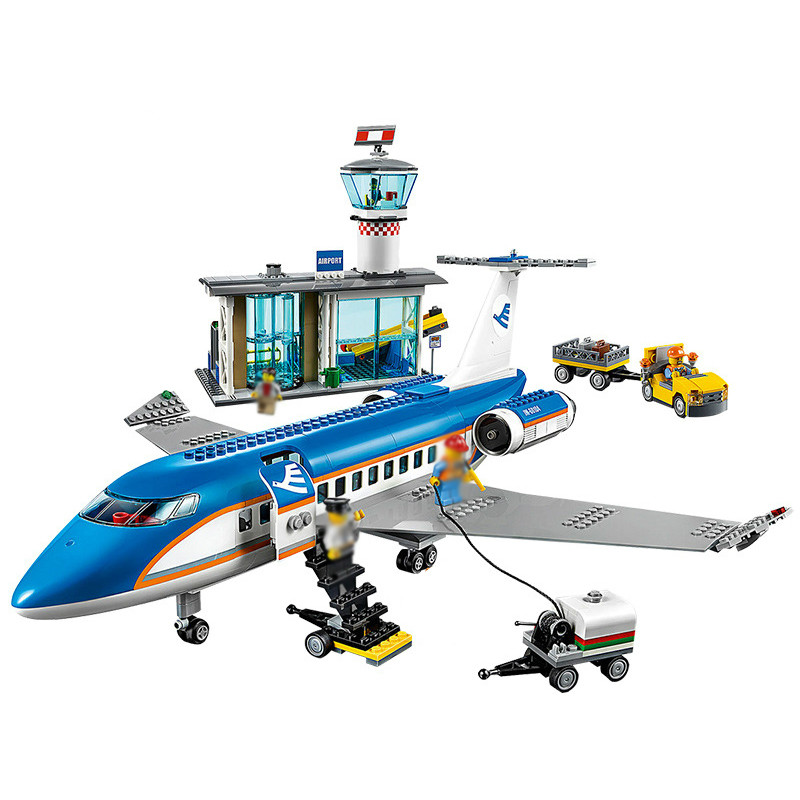 <font><b>02043</b></font> Lepining City Series 918pcs Airplane Airport Terminal Station Set Building Blocks Bricks Children Toys Christmas Gifts image