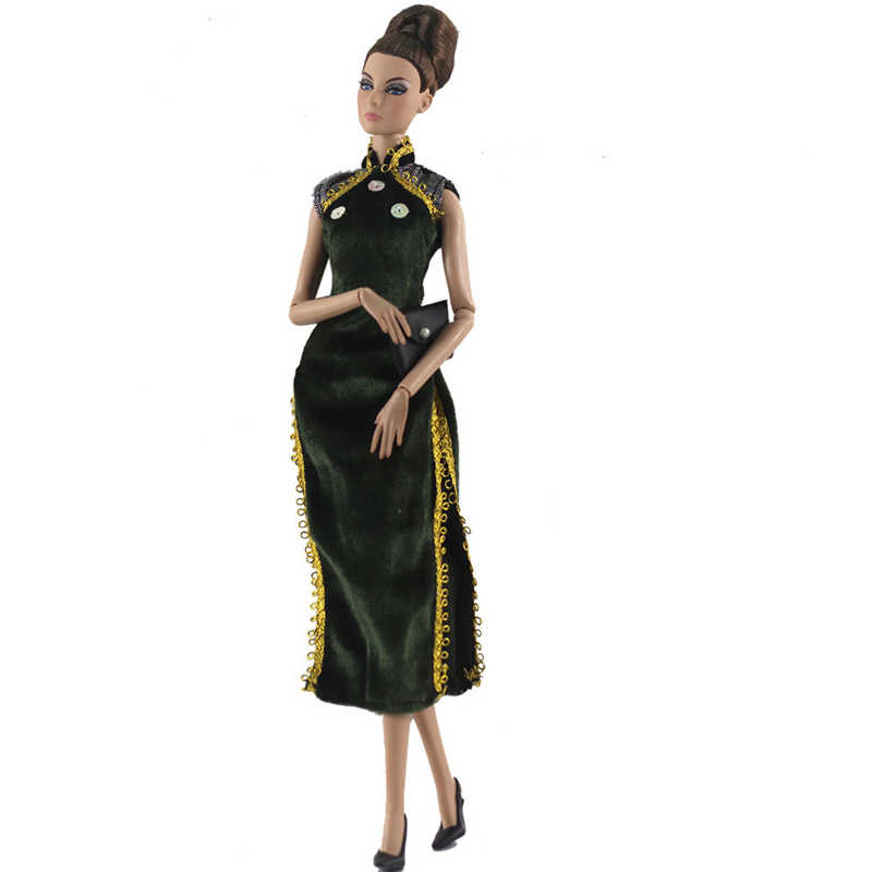 Koyu yeşil çin Qipao Cheongsam siyah çanta akşam elbiseler Barbie oyuncak bebek giysileri için Barbie bebek kıyafet giyim aksesuarları