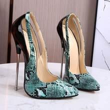 Zapatos De tacón De 16cm con diseño De serpiente para Mujer, calzado con puntadas metálicas, Stilleto De tacón alto, talla grande 46, en color verde
