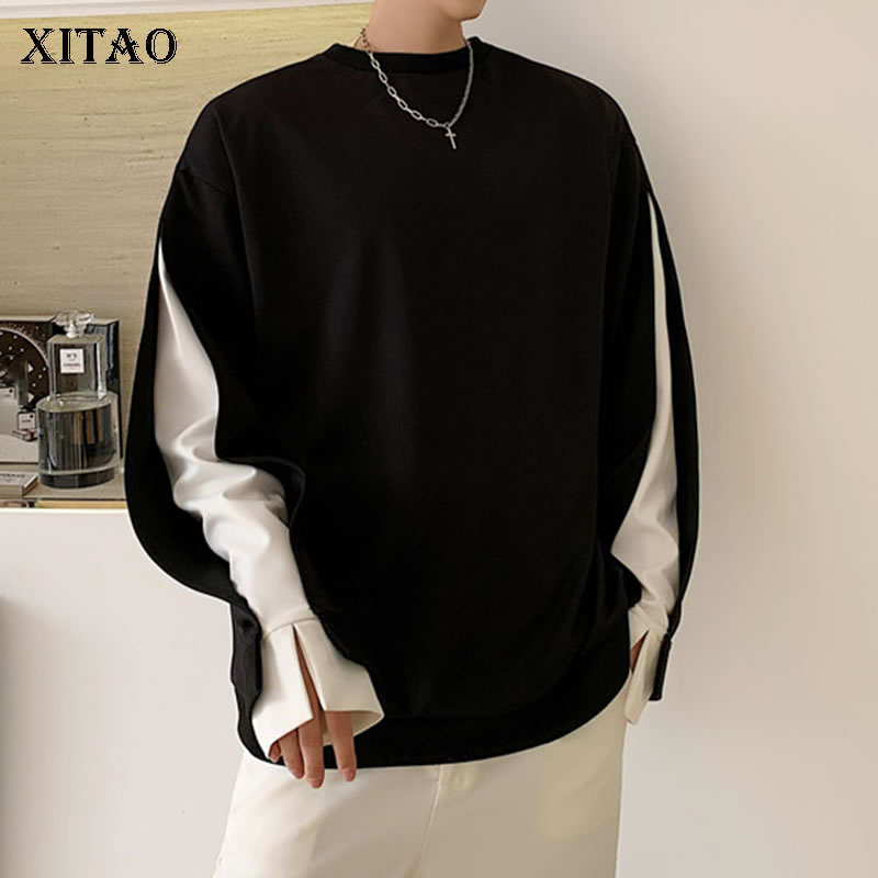 XITAO Plus Size Patchwork Sweatshirt Pullover Pleated False Two Piece 2020 Spring Summer Minority Elegant Sweatshirt DMY3479 1
