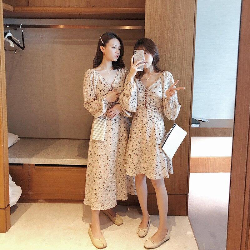 Online Celebrity 2019 Spring And Summer New Style V-neck Mid-length Skirt CHIC Floral Dress Women Dress-