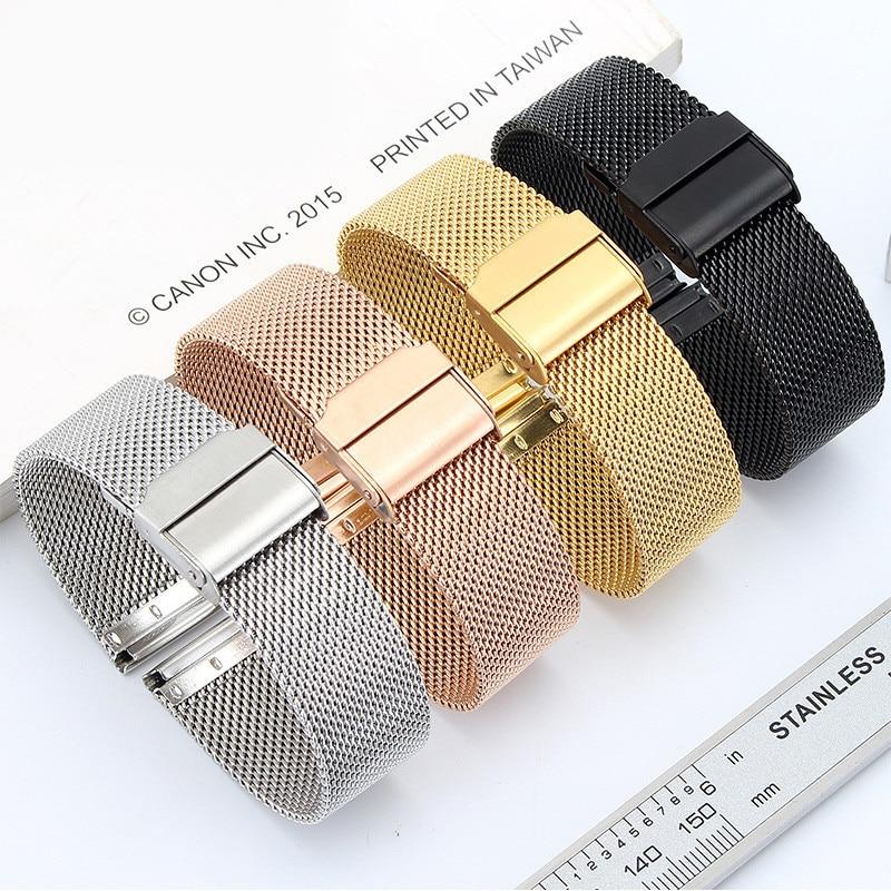 Reloj Correa magnética de Metal de acero de malla de reloj de pulsera con doble hebilla de seguridad para Daniel Wellington reloj Correa 18 20 22 24mm