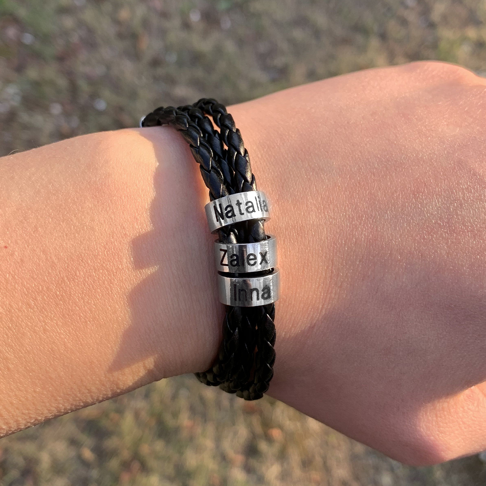 Personalized Mens Braided Genuine Leather Bracelet Stainless Steel Custom Beads Name Charm Bracelet for Men with Family Names