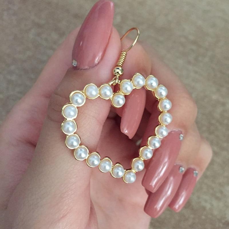 Flashbuy Gold Heart Pearl Drop Earrings For Women Statement Pearl Dangle Earrings Simple Fashion Jewelry Trendy Accessories 1