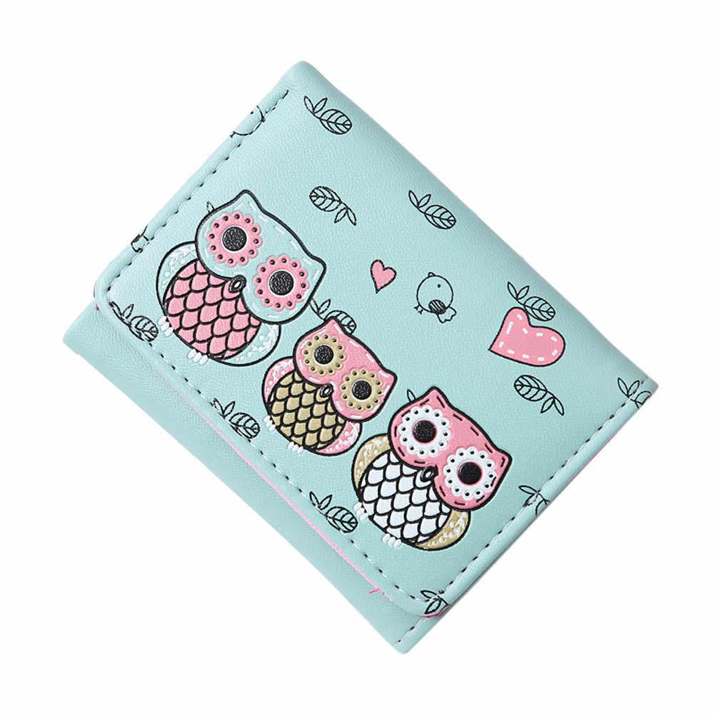 רטרו ינשוף הדפסה קצר ארנק נשים פשוט עור מטבע ארנק כרטיס מחזיקי ארנקים ליידי מצמד כסף תיק תיק קטן ארנק