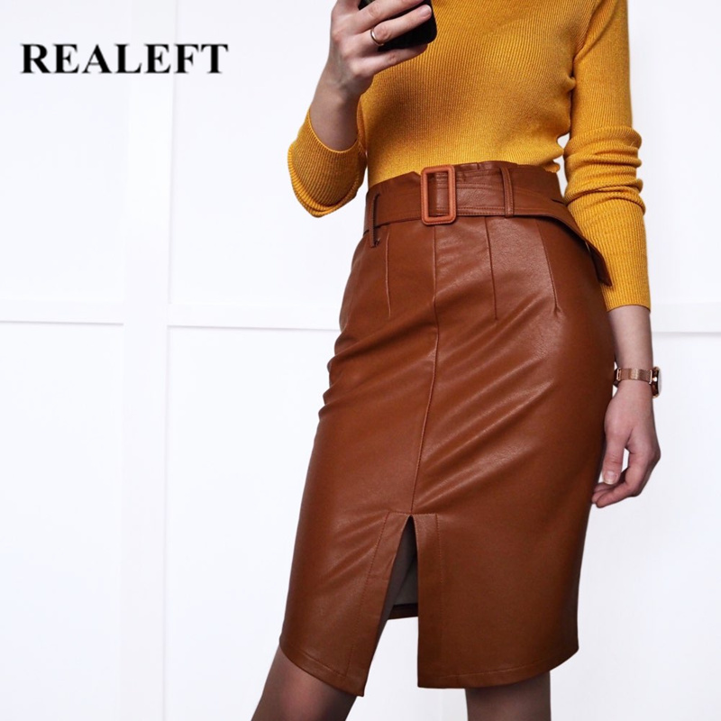 REALEFT Spring PU Leather Skirts Elegant Pencil Midi Skirts High Waist Split Sheath Wrap Skirts With Belt Female 2020 New