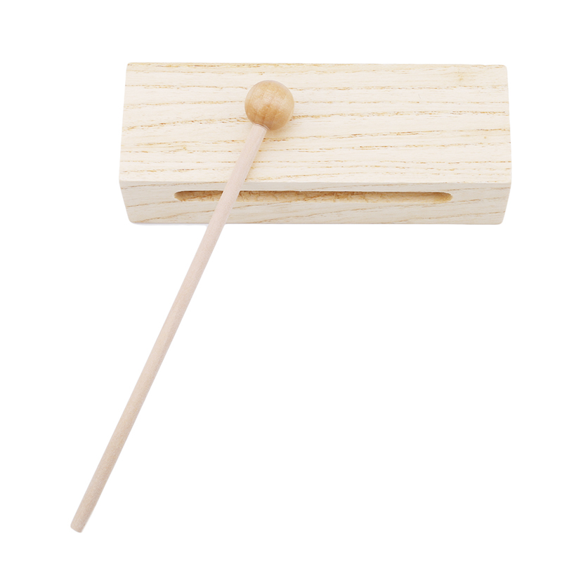 Wooden Percussion Block Woodblock With Mallet Exquisite Kid Children Musical Toy Percussion Instrument Good Birthday Gift