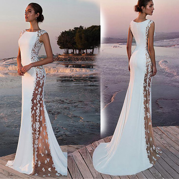Women White Lace Dress Flower Embroidered Sexy Long Party Bodycon Maxi Dresses Elegant Formal Dress for Wedding Vestidos Mujer dresses for women 2020 fashion design loose dress batwing maxi long femme vestidos summer autumn party elegant dress