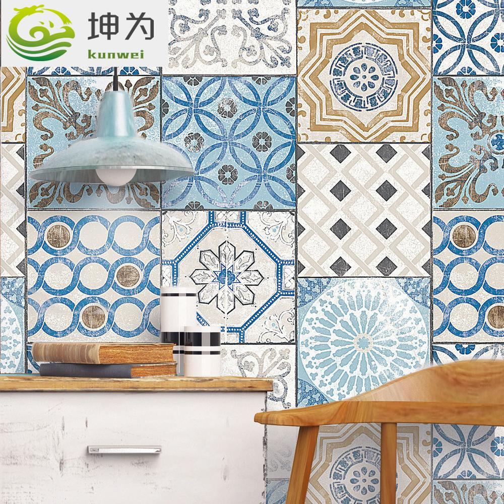 New fashion white and blue faux tile wallpaper roll Mediterranean style PVC wall paper Living room TV background wall study room wallpaper