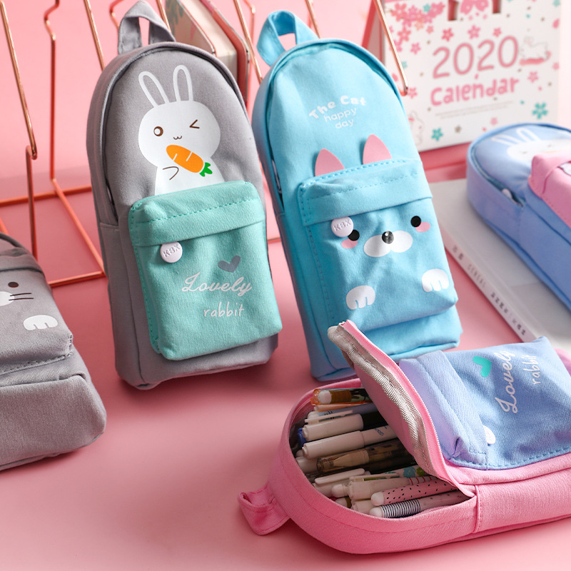 Cute Animals School Bag Shape Canvas Large Capacity Pencil Bag Pouch Case Pencilcase Stationery Organizer For School Student