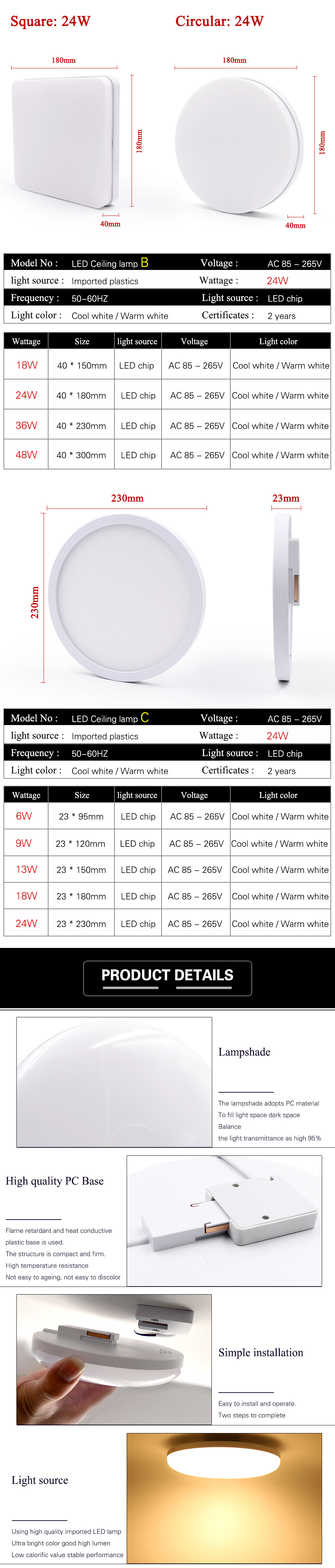 Hb211f54aaf514ad881ae4a151c5936faC EnwYe 6W 9W 13W 18W 24W 36W 48W LED Circular Panel Light Surface Mounted led ceiling light AC 85-265V lampada led lamp