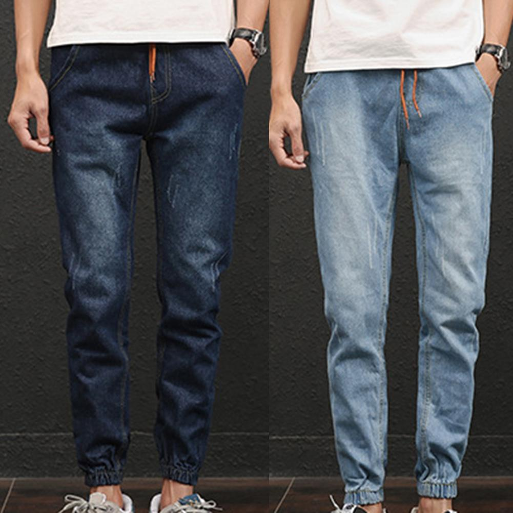 Plus Size Fashion Casual Comfy Men Jogger Stretch Drawstring Elastic Waist Fit Denim Long Pants Jeans Slim Clothing For Mens
