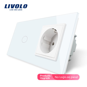 Livolo EU standard Touch Switch,White Crystal Glass Panel, AC 220~250V 16A Wall Socket with Light Switch,C701-C1EU-11