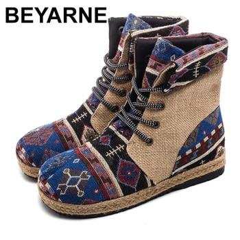 BEYARNEHarajuku Embroidery Women Linen Cotton Short Ankle Boots Lace Up Comfort Ladies Flat Espadrilles Booties Vegan ShoesE894 - discount item  48% OFF Women's Shoes