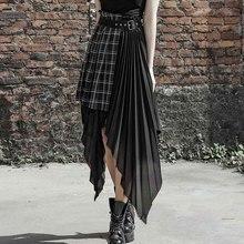 PUNK RAVE New Women Fake Two Pieces Skirt Fashion Plaid Black Irregular Chiffon