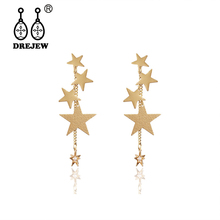 DREJEW Gold Silver Star Big Small Statement Earrings Long Tassel Custom Crystal Drop for Women Fashion Jewelry HE8111