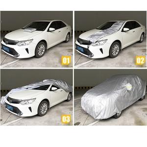 Image 2 - JIUWAN 유니버설 SUV 자동차 커버 태양 먼지 UV 보호 야외 자동 전체 커버 SUV 세단에 대 한 우산 실버 반사 스트라이프