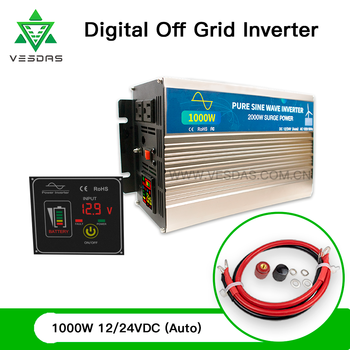 цена на 1000W Off Grid Tie Inverter Pure Sine Wave Home Wind Turbine Solar Inversor 110V 220V With Screen Switch for 12V 24V Battery