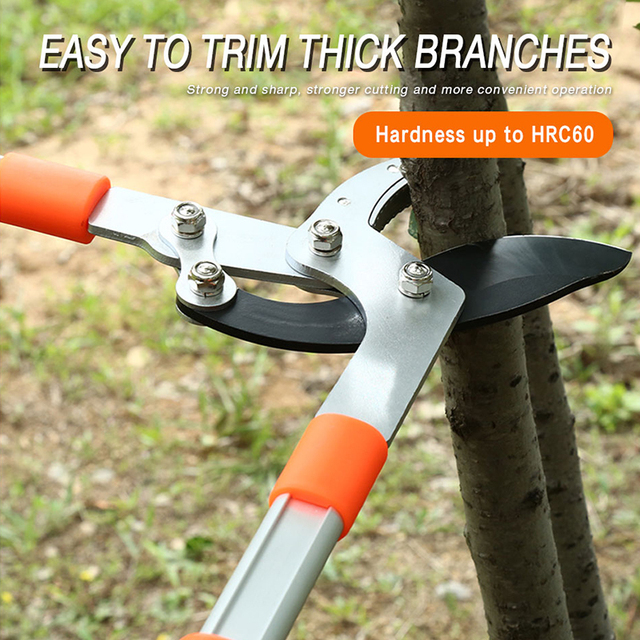 AI-ROAD New Telescopic Long Length Scissor Hedge Anvil Shear Anti-Slip Garden Pruning Hand Tool Ratchet Cut Tree Branch Pruners 5