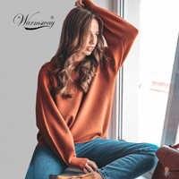 Pull femme 2019 inverno outono oversized malha mistura de caxemira camisola feminina lanterna manga básica engrossar pulôveres C-303