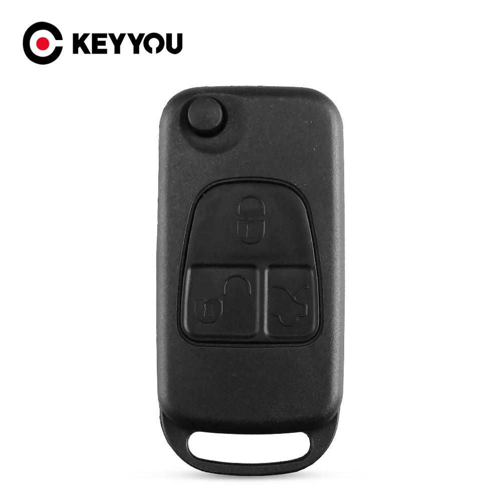 Keyyou virar dobrável 3 botão remoto flip dobrável chave fob para mercedes benz ml c s classe ml320 c230 ml430 caso chave capa