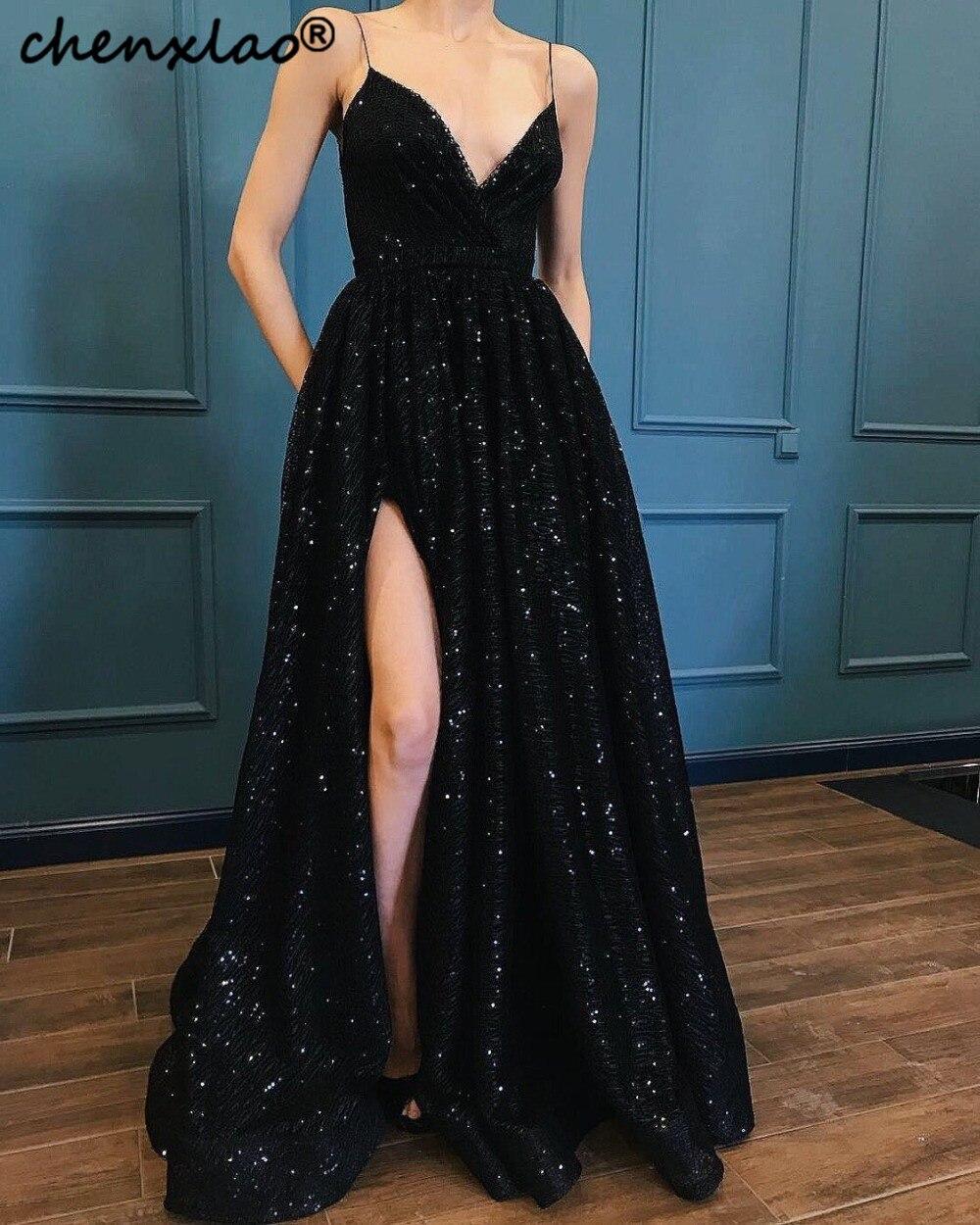 Spaghetti Straps Gorgeous A Line Prom Dress Lace Sparkling Evening Gown Vestido De Festa Longo Sexy A Line Long Dress