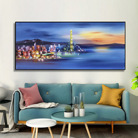 100% Hand Painted Dazzle colour city Oil Painting On Canvas Wall Art Frameless Picture Decoration For Live Room Home Decor Gift