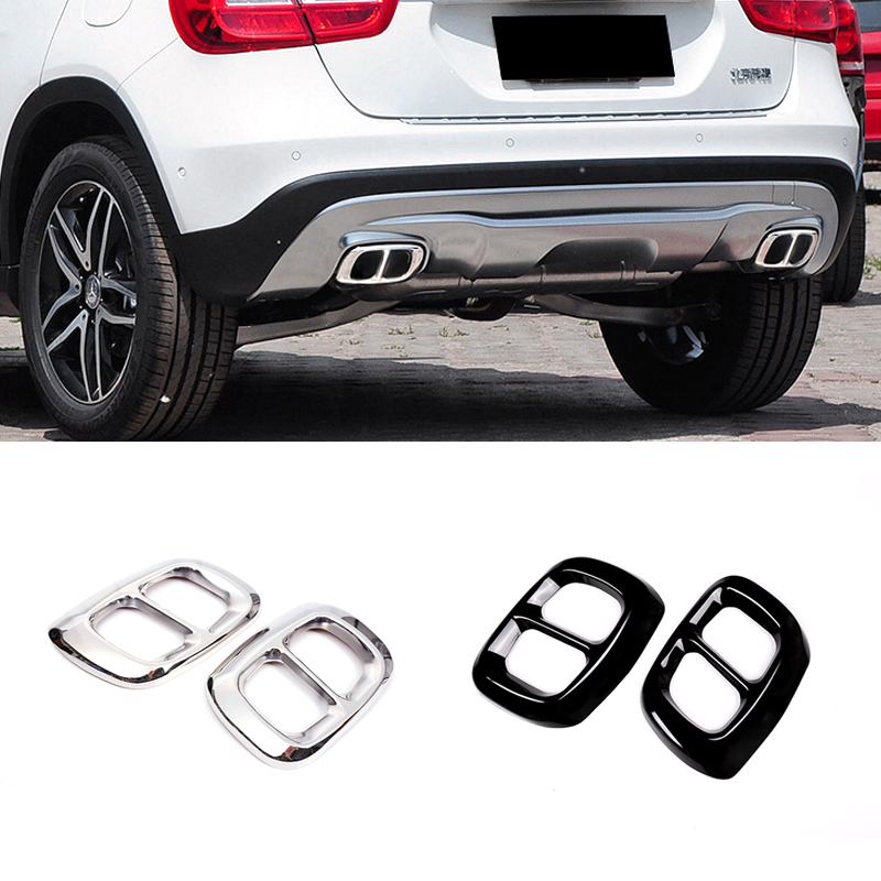For Mercedes Benz GLA 200/220/260 X156 2013 2014 2015 2016 2017 Car Exterior Tail Throat Liner Pipe Exhaust System Cover Trim