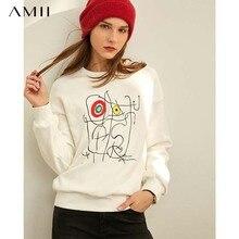 Amii Minimalist Print Sweatshirt Autumn Women Casual Round N
