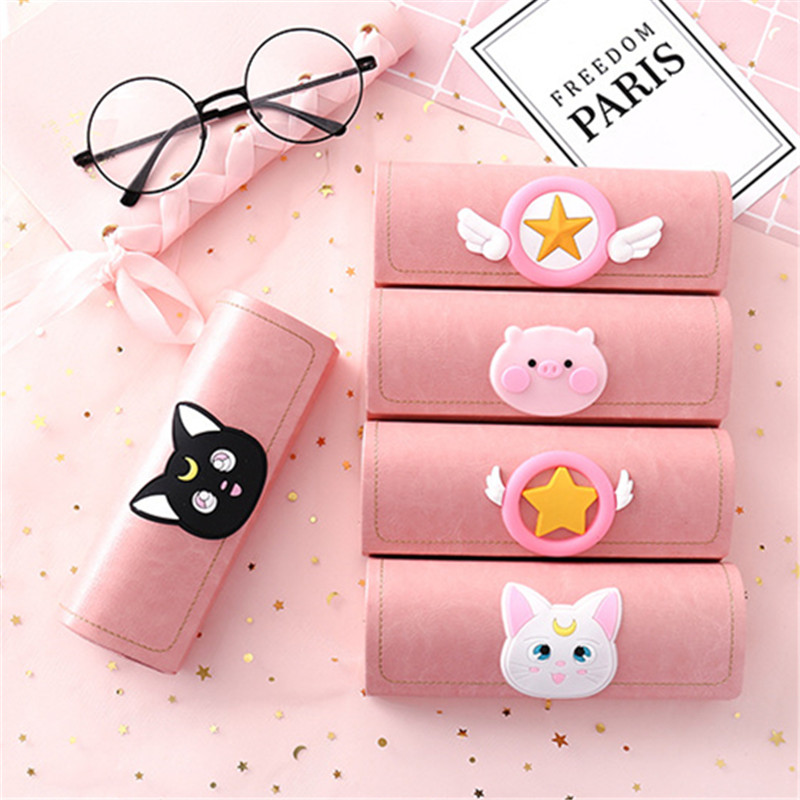 1pcs Creative Cartoon Frame Glasses Case Pink Cute Student Myopia Glasses Box Portable Sunglasses Storage Box