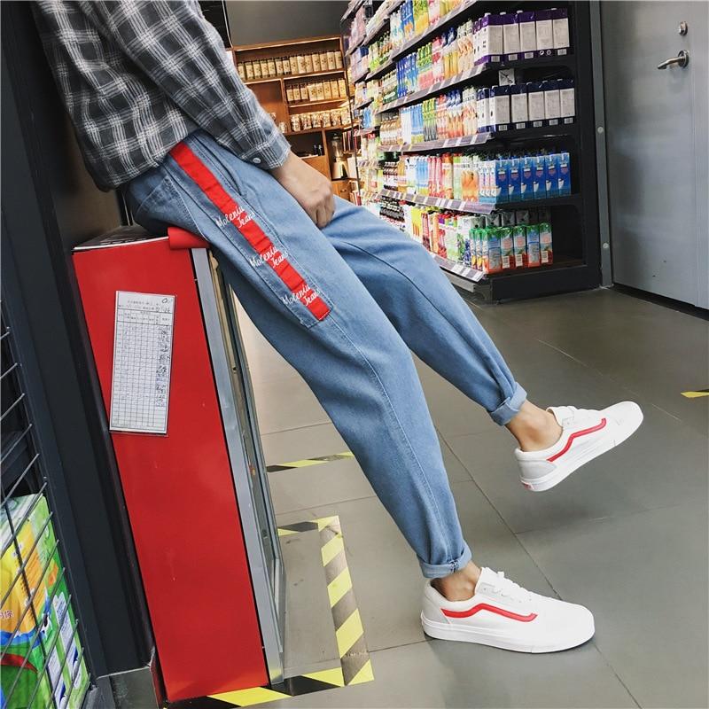 Spring And Summer Jeans Men Korean-style Trend 2018 Slim Fit Pants Teenager Loose Straight Capri Pants Jeans