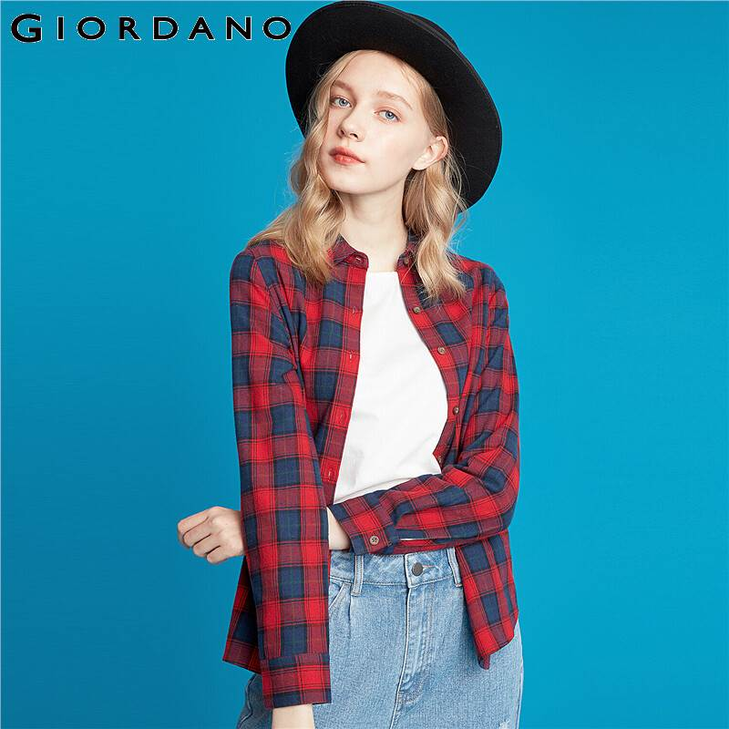 Giordano Women Blouse 100% Cotton Flannel Casual Tops Winter Warm Long Sleeve Roupa Feminina Button Front Blusas Mujer 13349808