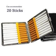 Новые кожаные сигареты Чехол держатель для табака вмещает 20 палочки сигаретного дыма контейнер для хранения Шатен табак металлическая кор...