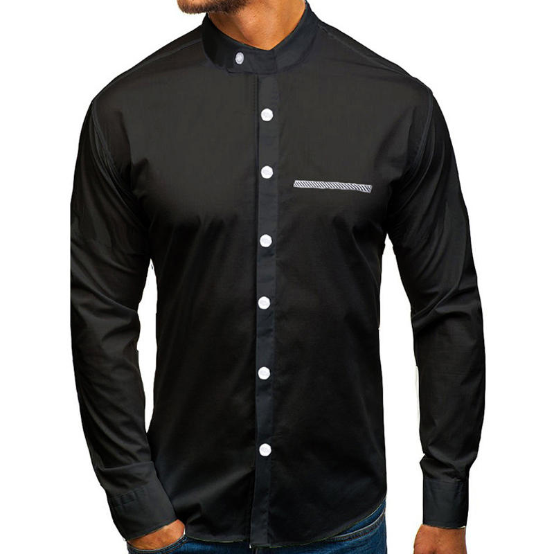 New Fashion Mens Business Shirt Standing Collar Long-sleeved Casual Formal Men Solid color shirts