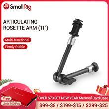 """SmallRig brazo de roseta articulado con soporte para zapata fría y adaptador de tornillo roscado estándar de 1/4 """" 20 longitud máxima de 11 pulgadas 1498"""