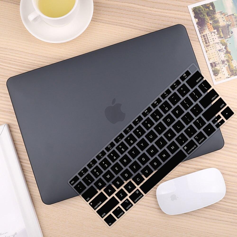Чехол для ноутбука 4 в 1 для MacBook Air 11, 13 дюймов и Pro retina 13,3, 15,,,, кристально Матовый Жесткий чехол для клавиатуры - Цвет: Matte Black