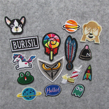 1Set Mixed Unicorn Letter Stickers Patch Cat Kids Iron On Cartoon Patches Embroidered Cute Patches For Clothes Jeans Applique image