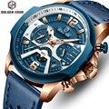 Herren Uhren Top Brand Luxus Blau Quarz Männer Uhr Leder Chronograph Big Sport Armbanduhr Mann Männlichen Uhr Relogio Masculino