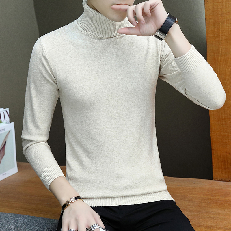 Turtleneck Sweater Men 2019 Autumn Thin Mens Jumpers Knitwear Pullovers Man Warm Solid Casual Skinny Sweater Male High Stretch