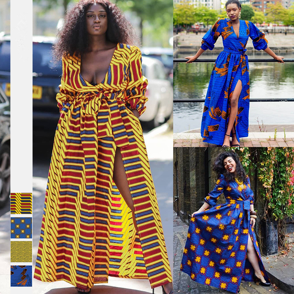 African new style digital printing autumn women's sexy fashion V-neck long-sleeved split dress African ethnic big swing dress